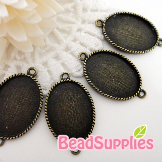 CH-CS-03009-  Nickel free , antique brass,  Oval cameo setting connector , 6 pcs (for 25mmx18mm cabochon)