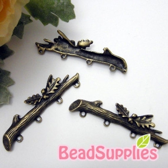 CH-ME-03259 - Antique brass, Branch and leaf with 4 holes connector, 4 pcs