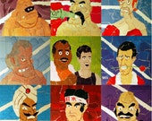 "Set of 9 ""Punch Out"" collage prints"