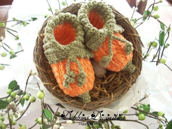 Baby Bootie Crochet Pattern - Pumpkin Fairy Booties