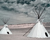 Wind Dancers 15x23 Fine Art Gallery Print Two First Nations Tipis