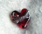 Red glass & fine silver foil heart pendant/ornament
