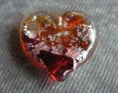 Pink/orange glass & fine silver foil heart pendant/ornament