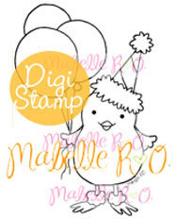 Instant Download Digi Stamp: Birthday Chickie