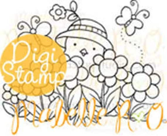 Instant Download Digi Stamp: Spring Garden Chickie