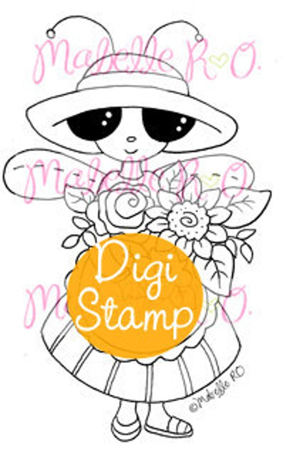 Instant Download Digi Stamp: Mimi Bug Gardener