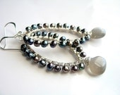 Gray Pearl Earrings with Moonstone Teardrops, Wire Wrapped Hoops