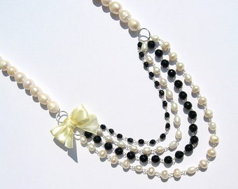 Pearl Necklace, Multi-Tier Bridal Statement Necklace, Black, Off White, Bow Necklace