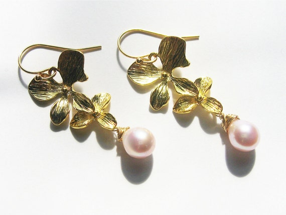 Pearl Orchid Earrings, Gold Earrings, Pink Freshwater Pearls, Cascading Flower Tear Drops, Bridal, Bridesmaid Jewelry