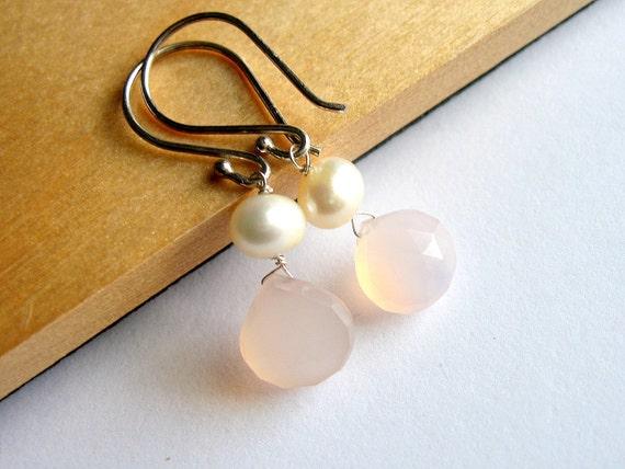 Pink Pearl Teardrop Earrings, Chalcedony Gemstone, Sterling Silver