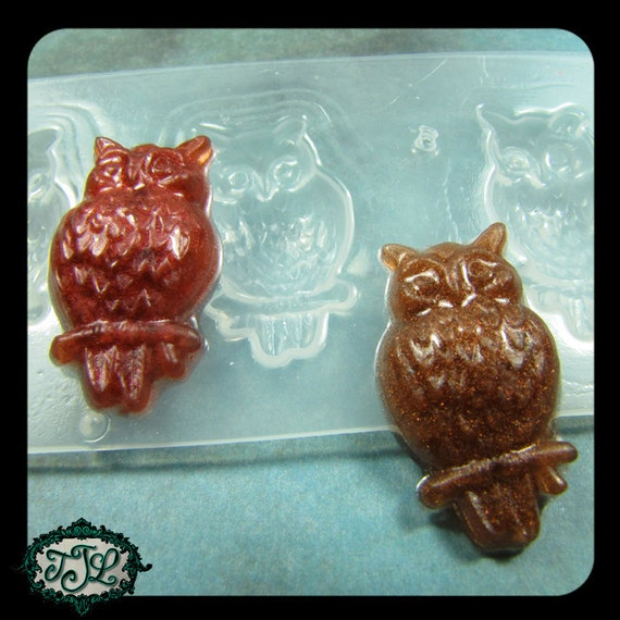 resin MOLD Set of 3 OWLS Full Body Sitting on a Branch also for polymer clay, pmc, plaster, soaps, and candles