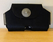 Leather Phone Media Holster Case (Black w/Celtic Concho)