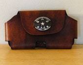 Leather Phone Media Holster Case (Brown w/Western Star)