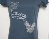 Organic Butterfly Gandhi light teal short sleeve shirt top Alternative Apparel