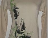 Buddha Peace mudra zen yoga boat neck 3/4 long sleeve American Apparel