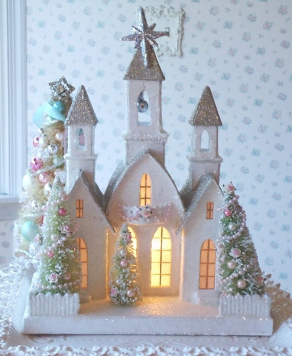 RESERVED for TONYA - LIGHTED Shabby Christmas Cathedral - Vintage Style with Bottle Brush Trees