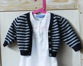 blue and grey striped cashmere cardigan 12m