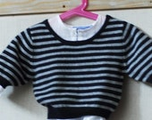 blue and grey striped cashmere sweater 3\/4 long sleeve 12m