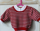 red and grey striped cashmere sweater 3\/4 long sleeve 12m