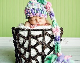 Knitting Pattern Newborn Tall Tales Baby Hat (PDF) For  Super Bulky Yarns 2-4 wpi Great Photography Prop Instant Download