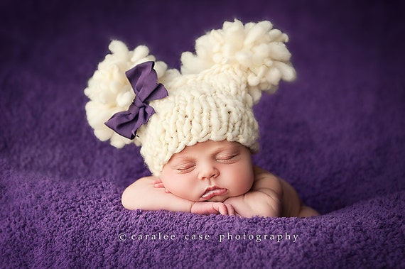 Knitting Pattern Newborn Double Fluff Baby Hat (PDF) For Bulky to Super Bulky Yarns Great Photography Prop