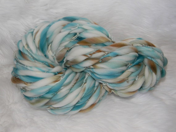 Soft Teal and Brown Kettle Dyed 68 yards Thick n Thin  Merino
