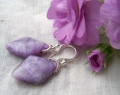 Reserved...Russian Charoite kite briolette, sterling silver coil wrapped,earrings