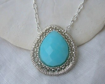 Peruvian Blue opal-sterling silver-pendant necklace
