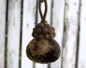 Large Faceted Bicolor Smoky Quartz Onion briolette , champaign pearl cap  necklace
