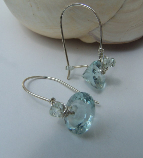 Aqua Quartz faceted ring cut oval, sterling silver earrings
