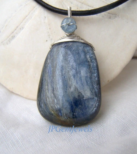 Kyanite briolette,basketweave sterling silver wrap pendant,leather  necklace