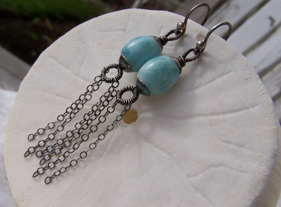 Genuine Larimar barrel  with  sterling silver beadcap- sterling silver coil- chain dangles