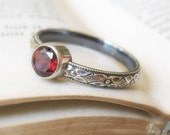 Garnet Princess Promise Stacking Ring Oxidized Sterling Silver