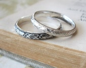 Wedding Band or Stacking Ring in Sterling Silver Diamond pattern
