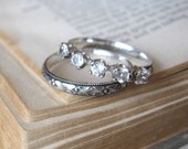 Anniversary Band 5 Stone Wedding or Stack Ring
