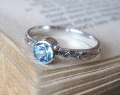 Sterling Silver Gemstone Ring  Blue Topaz Handmade Promise Ring