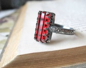 Sterling Silver Gothic Ring Rectangle Blood Red Crystal