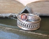 Garnet Gemstone Promise Ring Stacking Ring Bright Sterling Silver