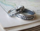 Swirl Wedding Band Set Sterling Silver Rings