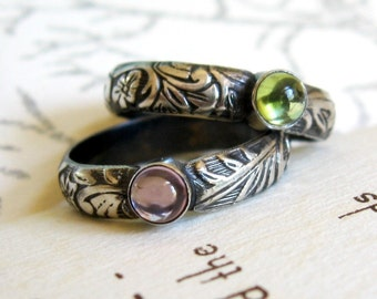 Gemstone Ring Frond and Floral PromiseRing or Stack Ring - Oxidized Sterling Silver Cabochon