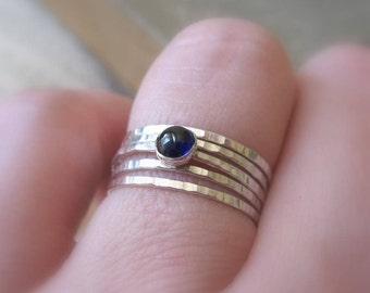 Hammered Sterling Silver Stacking Rings Set Blue Sapphire Gemstone Bright