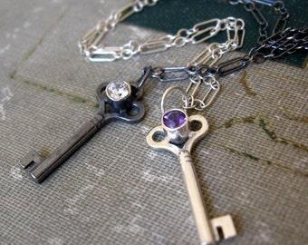 Amethyst Key Charm Birthstone Necklace Sterling Silver Key Pendant Dark Purple Natural Gemstone