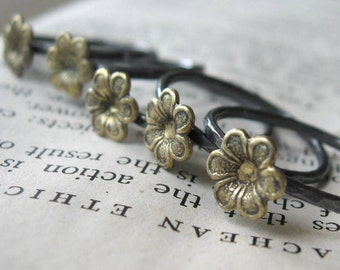 Little Brass Flower Ring Single on Oxidized Sterling Silver Band