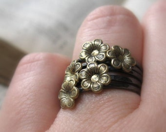 Boho Black Flower Stacking Set of Five Rings Sterling and Brass