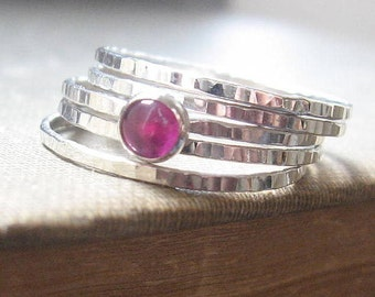 Pink Sapphire OR Ruby Red Hammered Stacking Rings Set  Bright Sterling Silver