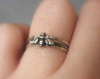 Hammered Bee Stacking Rings Sterling Silver