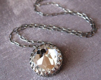 Gothic Crown Bezel Pendant in Oxidized Sterling Silver Vintage Crystal Clear