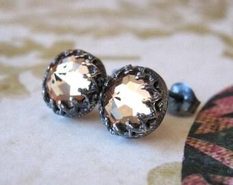Bling Post Earrings Sterling Silver Amber Crystal