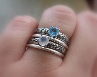 Rainbow Moonstone Gemstone Solitaire Ring Promise Ring Alternative Engagement Gemstone or Stacking Ring