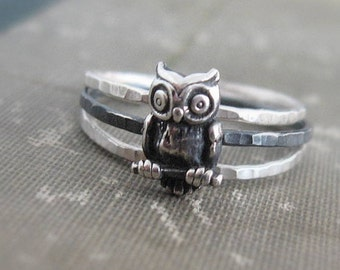 Hammered Owl Stack Rings Sterling Silver Stacking Ring Set Bird Rings